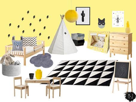 chambre mois avril  jaune noir 900