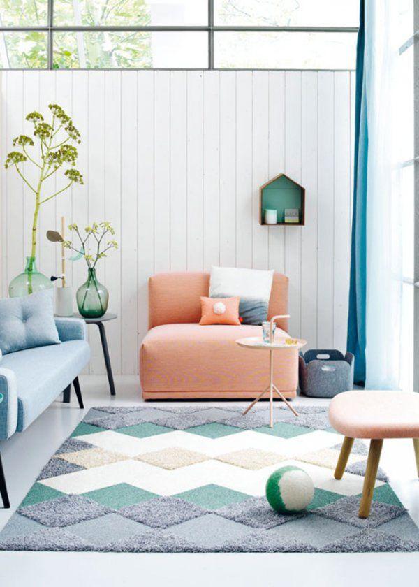 salon pastel et plantes