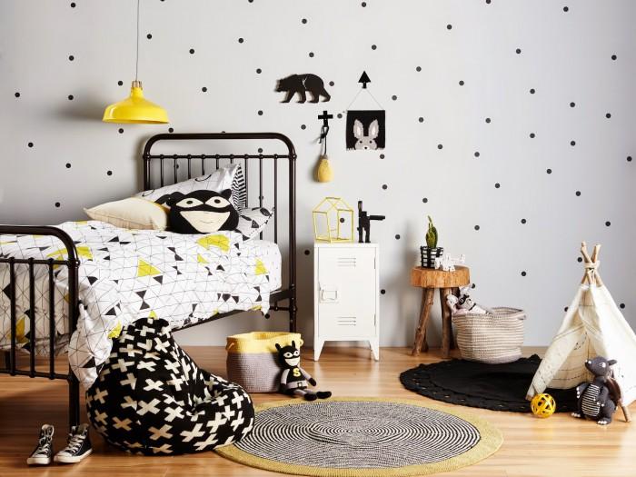 chambre-enfant-noir-blanc-jaune
